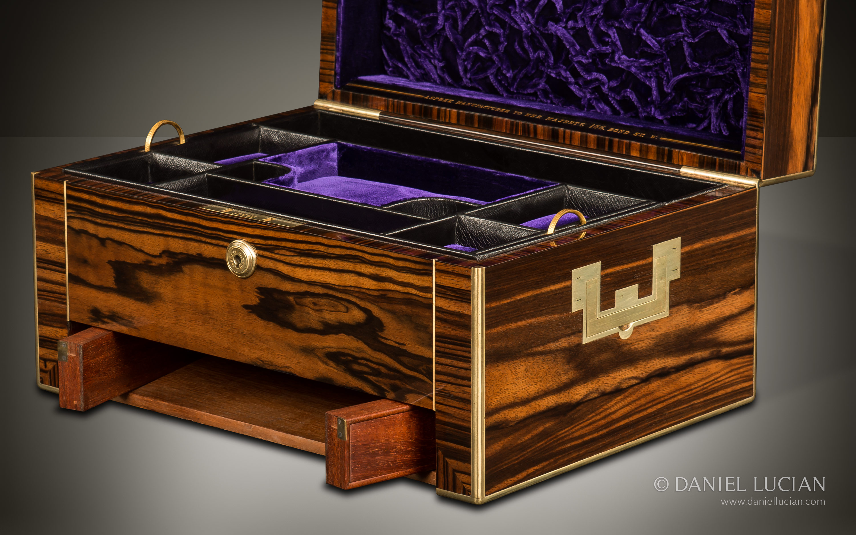 Daniel Lucian Antique Jewellery Box In Calamander With