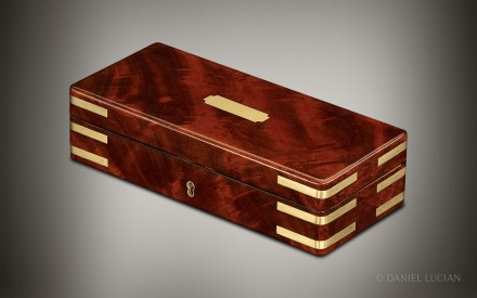 Miniature Antique Jewellery Box in Flame Mahogany, by William Lund